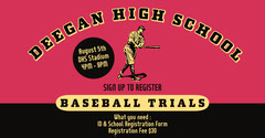 Red And Black High School Baseball Trials Facebook Post Sports