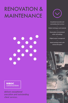 Purple and Black Construction Company Brochure Front Page Construction
