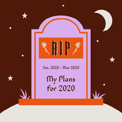 Pink and Orange Funny Tombstone RIP Illustration Instagram Square Rest in Peace