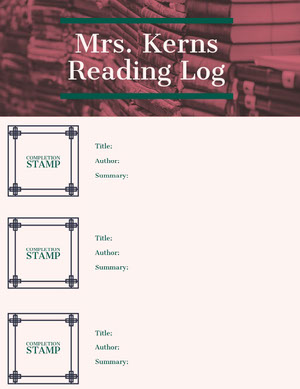 Reading Log School Lesson Plan Unterrichtsplan