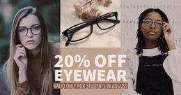 Brown Eyeglasses Sale Ad with Women Wearing Eyeglasses Montage photo