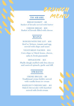 White and Blue Brunch Menu Brunch