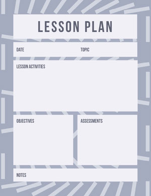 Blue and White Lesson Plan Horario de clase