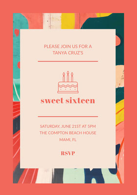 Red Sweet Sixteen Birthday Invitation Card with Cake Birthday Invitation
