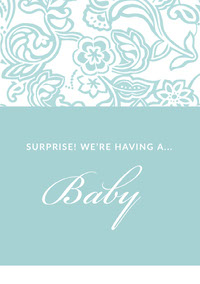 Light Blue Floral Pregnancy Announcement Card Baby Shower