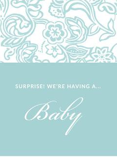 Light Blue Floral Pregnancy Announcement Card Blue