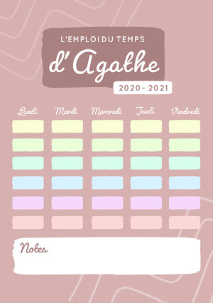 Pastel Pink and multicolour School Planner A4 Copy Calendrier
