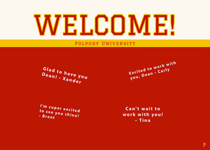 red collegiate group welcome card Welcome Card Messages