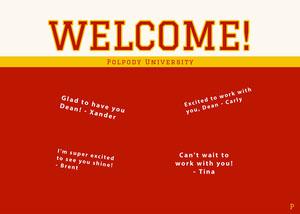 red collegiate group welcome card Cartão com Mensagem de boas-vindas ao Grupo