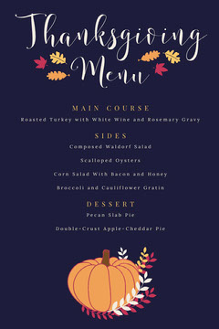Pumpkin Thanksgiving Party Menu Thanksgiving Menu