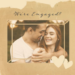 Brown Torn Paper Engagement Instagram Square  Couple