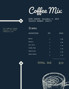 Black and White Restaurant Invoice Drink Menu