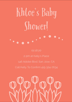 Pink and Orange Baby Shower Invitation Baby Shower (Girl)