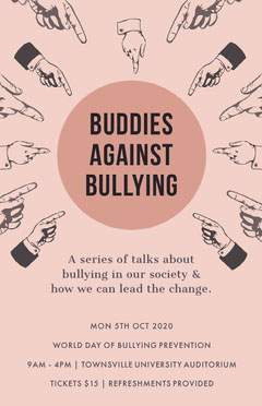 Pink Buddies Against Bullying Poster  Seminar Flyer