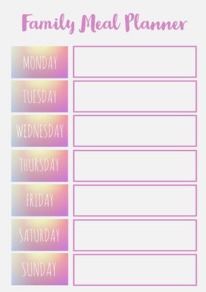 Pink & Grey Gradient Days Weekly Shareable Planner A4 Print Menu de la semaine