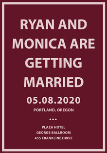RYAN AND MONICA ARE GETTING MARRIED Bryllupskort