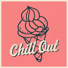 Pink Ice Cream Cone Chill Out Instagram Square Ice Cream Social Flyer