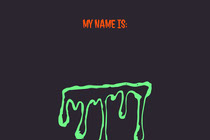 Green Slime Halloween Party Name Tag Scary