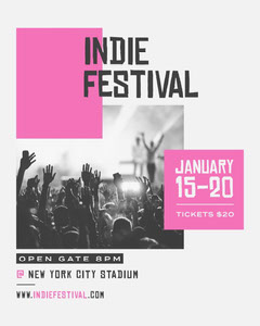 Black and Pink, Indie Festival, Instagram Portrait  Instagram Flyer
