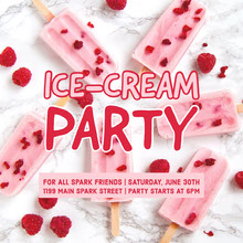 Red and Pink Ice Cream Party Invitation  Convite