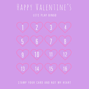 Pink Heart Valentine's Day Bingo Card ビンゴカード