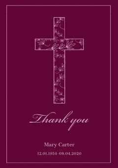 Purple Thank You for Attending Funeral Card with Cross Funeral