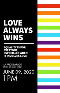 Black, White and Colorful La Pride Parade Poster Love