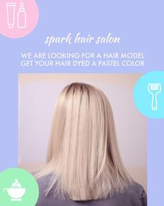 Violet and White Hair Salon Advertisement Beauty Salon
