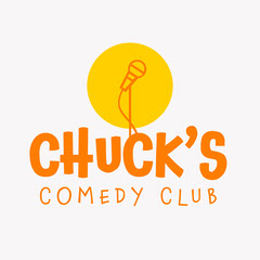 Orange and Yellow Chuck's Comedy Club Logo Square Comedy