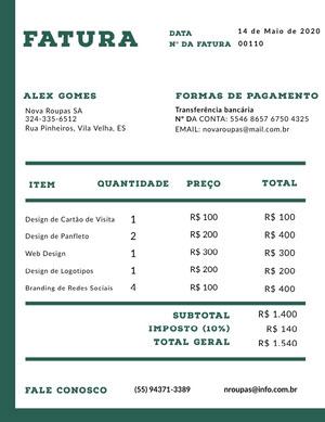 clothing company invoice  Fatura