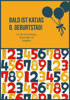 Bald ist Katjas 8. Geburtstag! Einladung zum Geburtstag