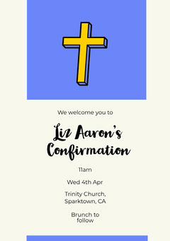 Blue, White and Yellow Confirmation Invitation  Church