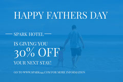 Blue and White Fathers Day Sale Ad Facebook Banner Hotels