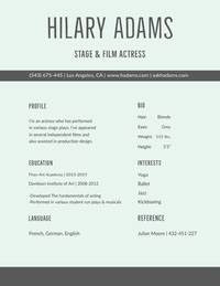 Gray Modern Actress Resume Resume