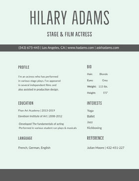 Gray Modern Actress Resume Modern Resume