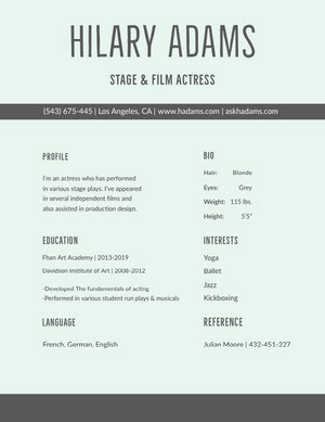 Gray Modern Actress Resume Curriculum per attori
