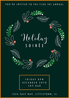 wreath holiday party soirée invite Holiday Party Flyer