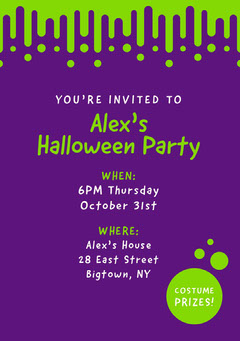 Violet and Green Slime Halloween Party Invitation Holiday Party Flyer