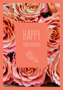 Orange and Flowered Pattern Happy Anniversary Card Tarjetas
