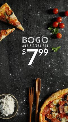 Bright, Light Toned Bogo Pizza Ad Instagram Story Bogo