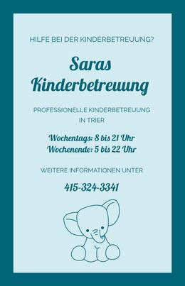 Saras<BR>Kinderbetreuung Flyer