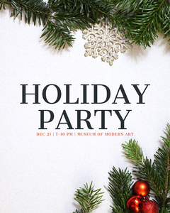 White, Green and Red Holiday Party Flyer Instagram Portrait Holiday Party Flyer