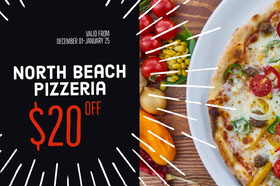 Black and Fresh Pizza Bar Gift Certificate Geschenkgutschein