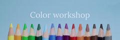 Blue With Colorful Pencils Color Workshop Banner Workshop