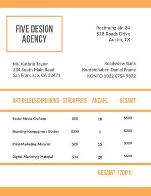 design agency invoice  Rechnung