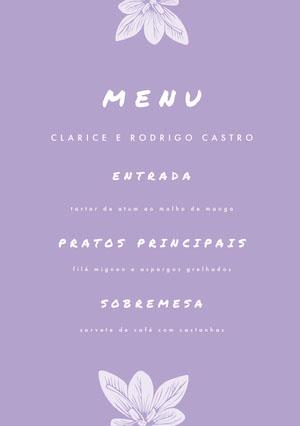 light purple wedding menu  Menu