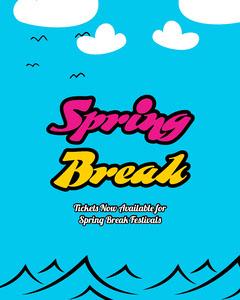 Bright Blue, Pink & Yellow Spring break poster Ocean
