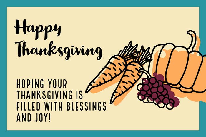 Blue, Orange and Purple Happy Thanksgiving Card Happy Thanksgiving Card Messages