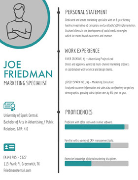 Turquoise and Gray Marketing Specialist Resume Currículo profissional
