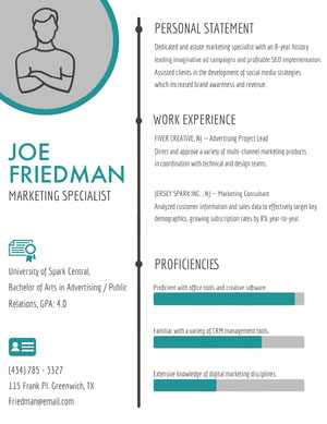 Turquoise and Gray Marketing Specialist Resume CV